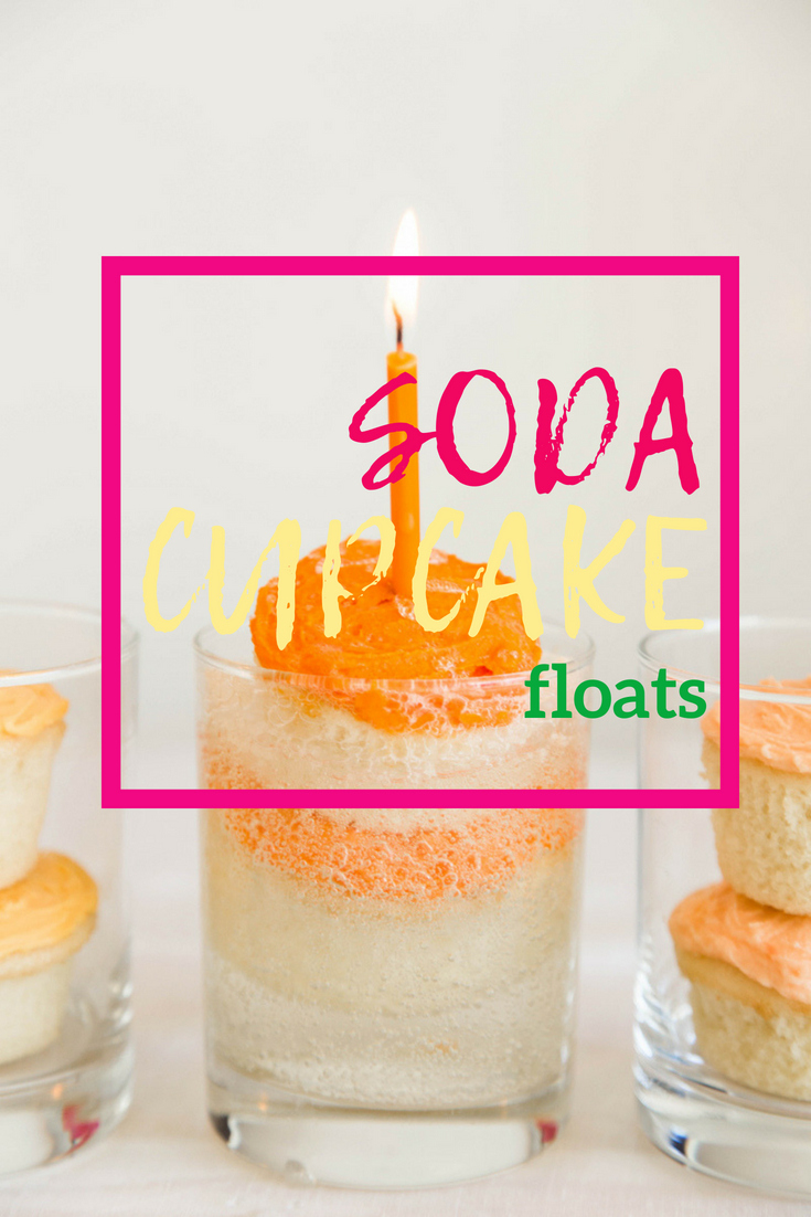 making floats with soda cupcakes