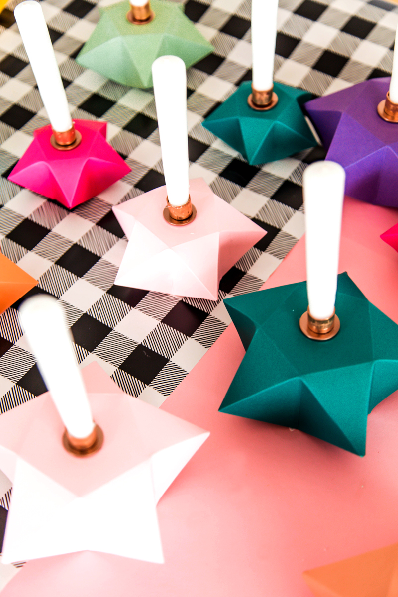 DIY Candle Holders With Origami Stars