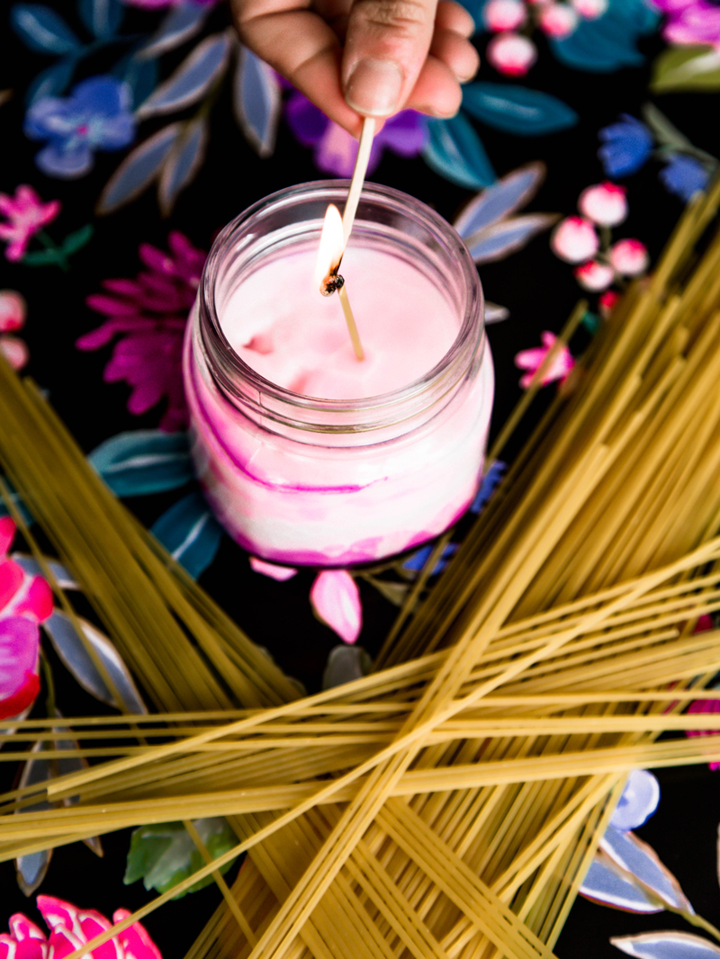 Essential oil candles with clean burn pasta wick