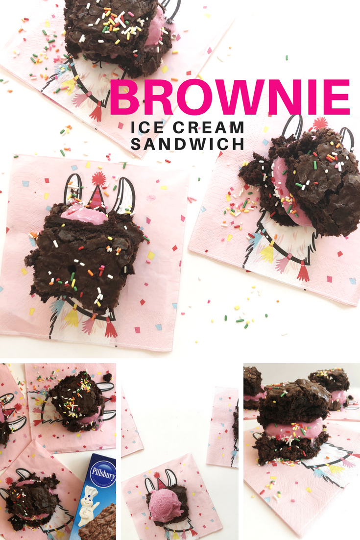 Make Ice Cream Sandwiches with Brownies. Video recipe... So good!