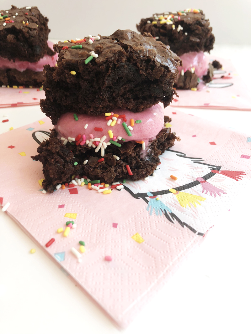 Sprinkle brownie ice cream sandwiches