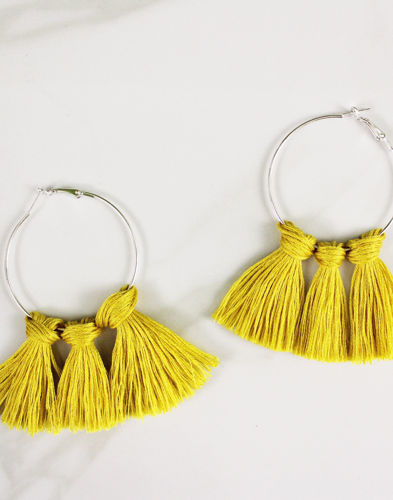 DIY Tassel Earrings with hoops