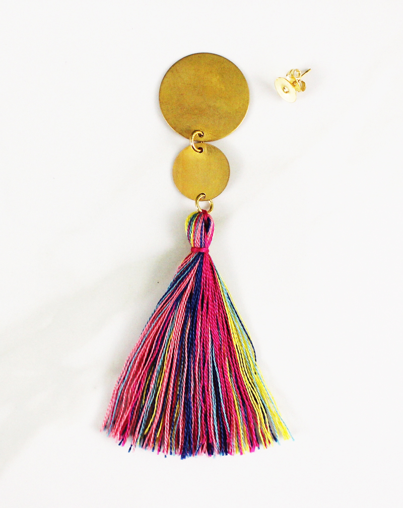 DIY geometric tassel earring