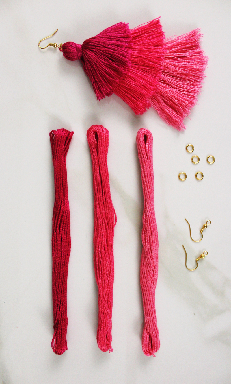 DIY tassel earrings in pink