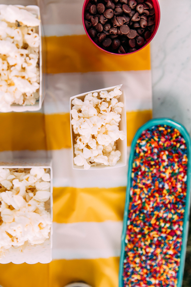 Movie night snacks - popcorn bar