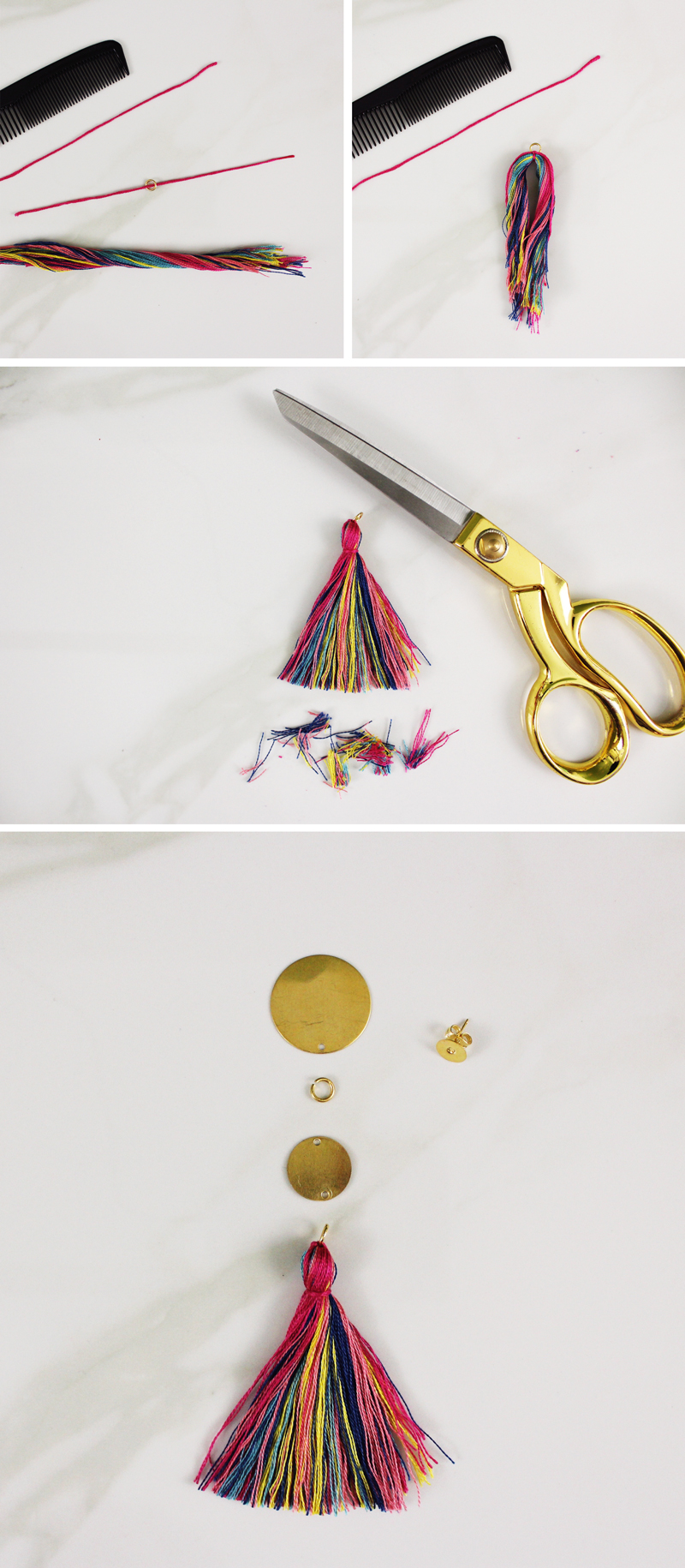tassel yarn earrings diy steps