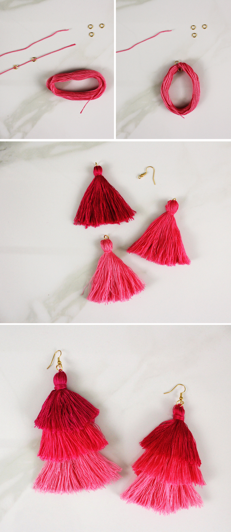 DIY tassel earrings step by step instructions