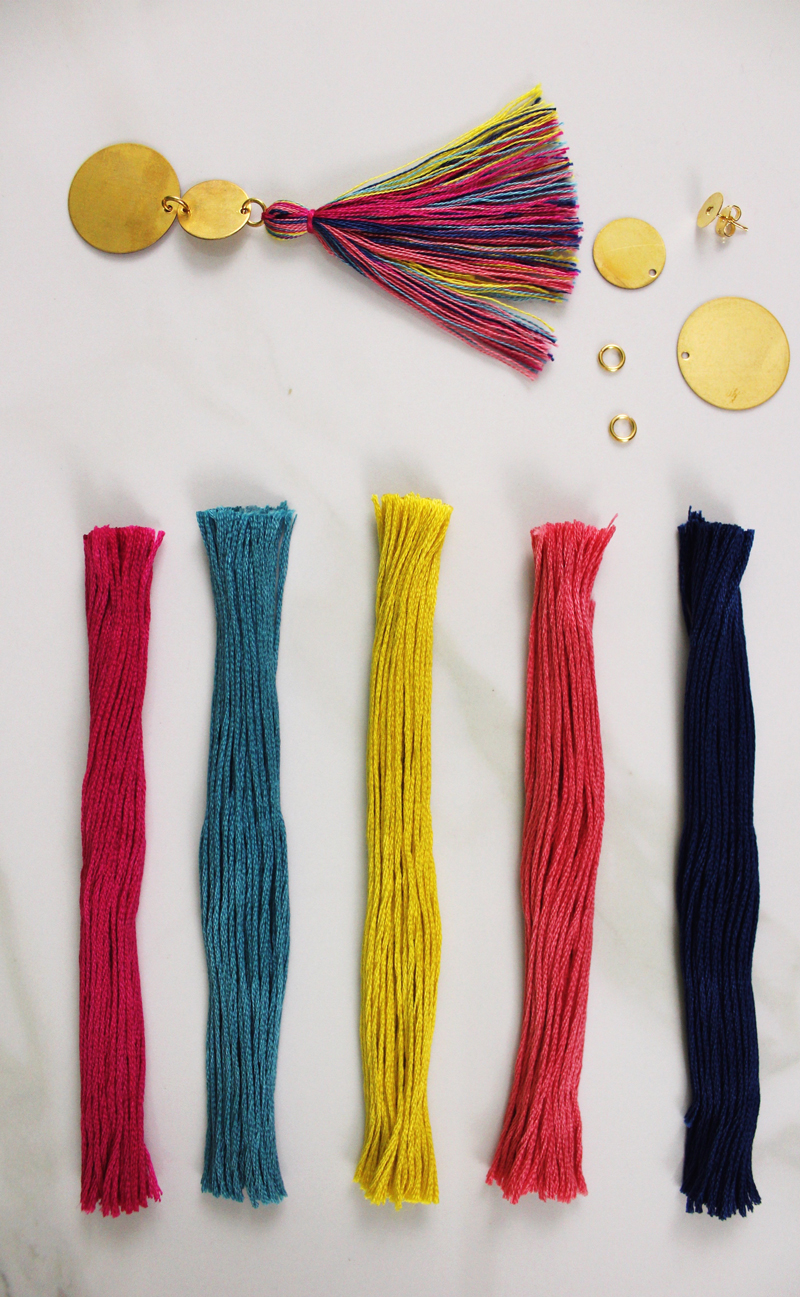 DIY tassel earrings colored materials