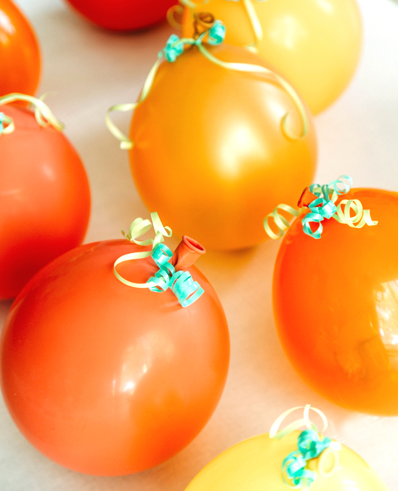 Pumpkin balloons filled with candy