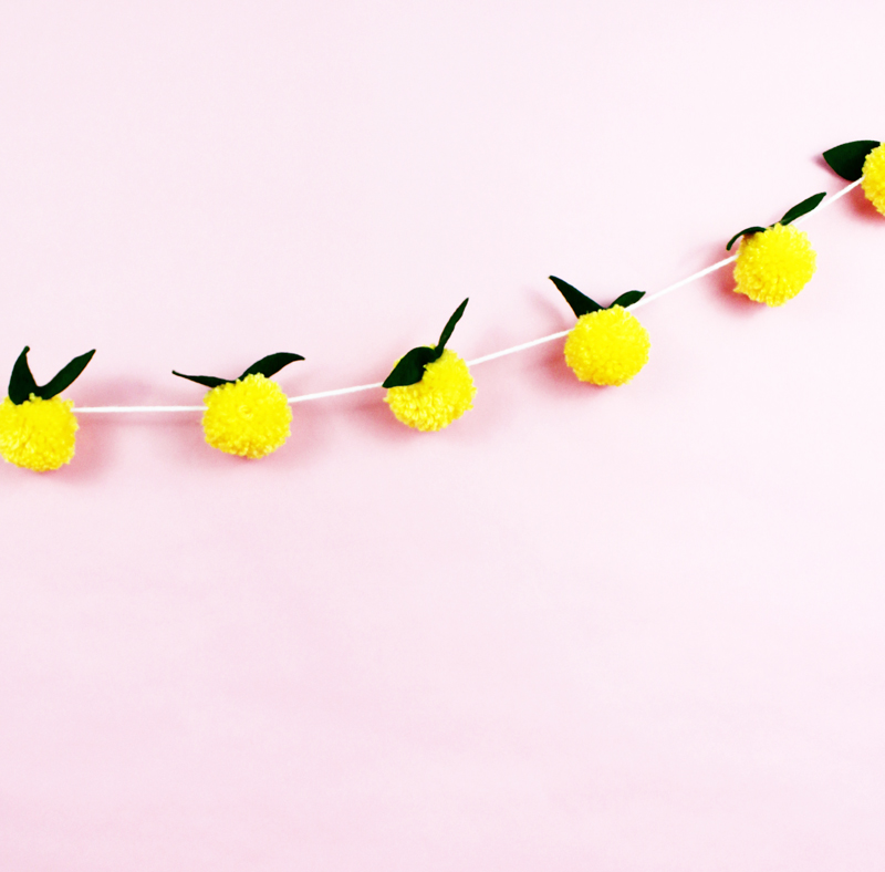 DIY lemon pom pom garland