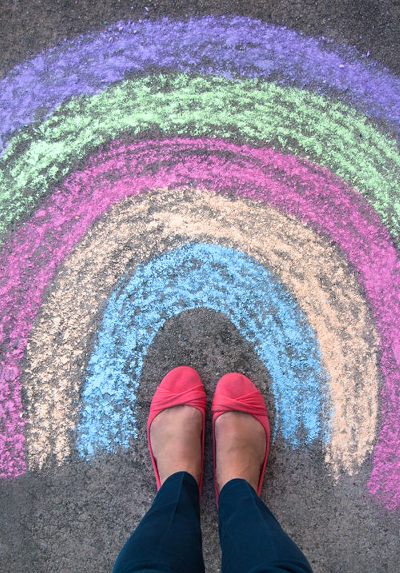 Sidewalk chalk art rainbow