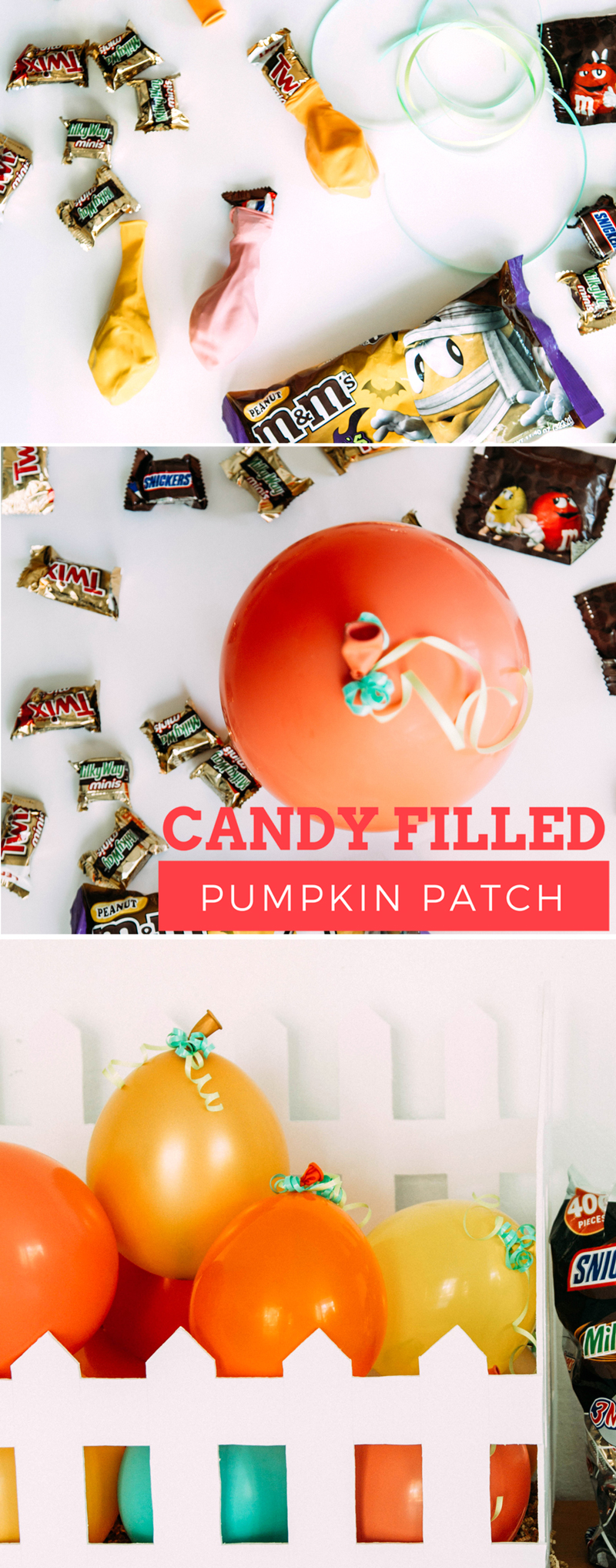 Candy filled pumpkin patch of balloons