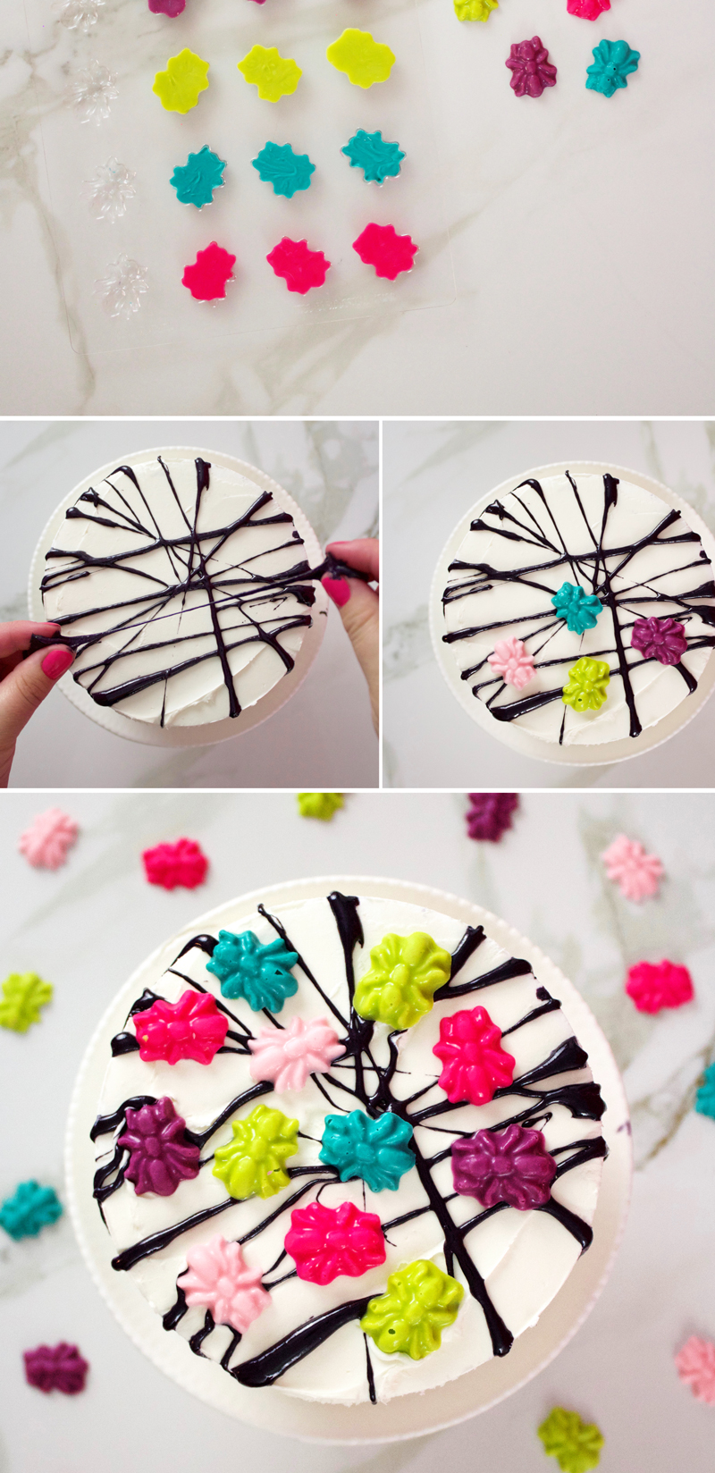 Spider Web frightful cake step by step instructions