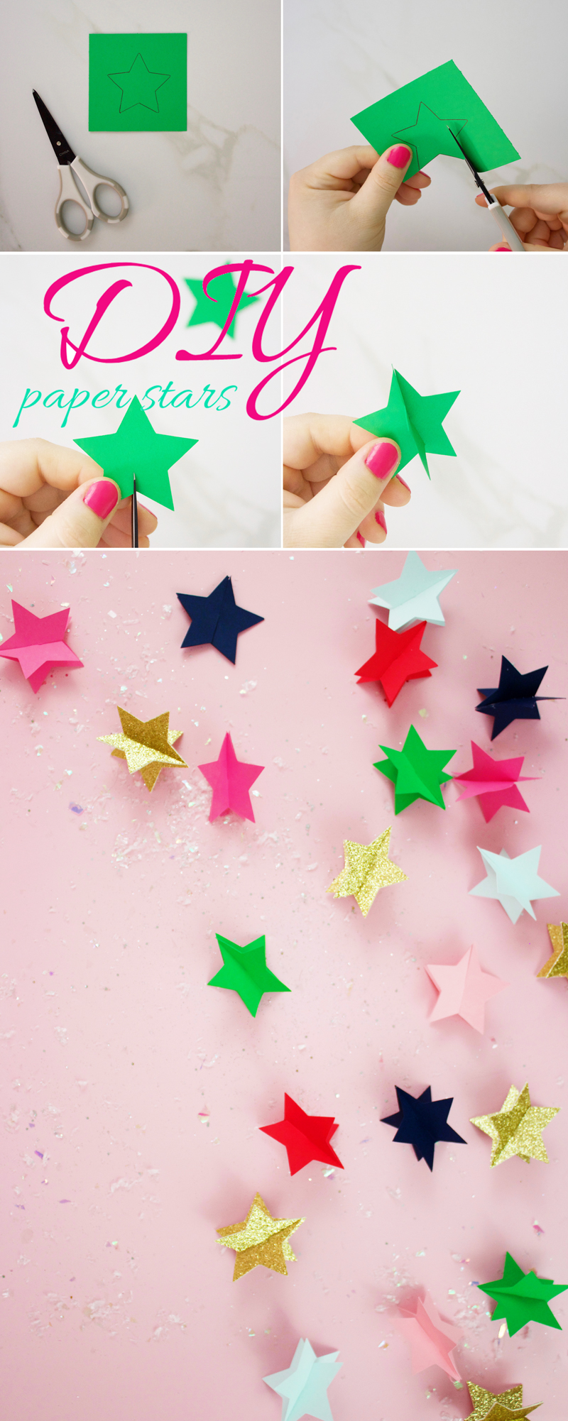 How To make A Christmas Star With Paper Step by Step instructions