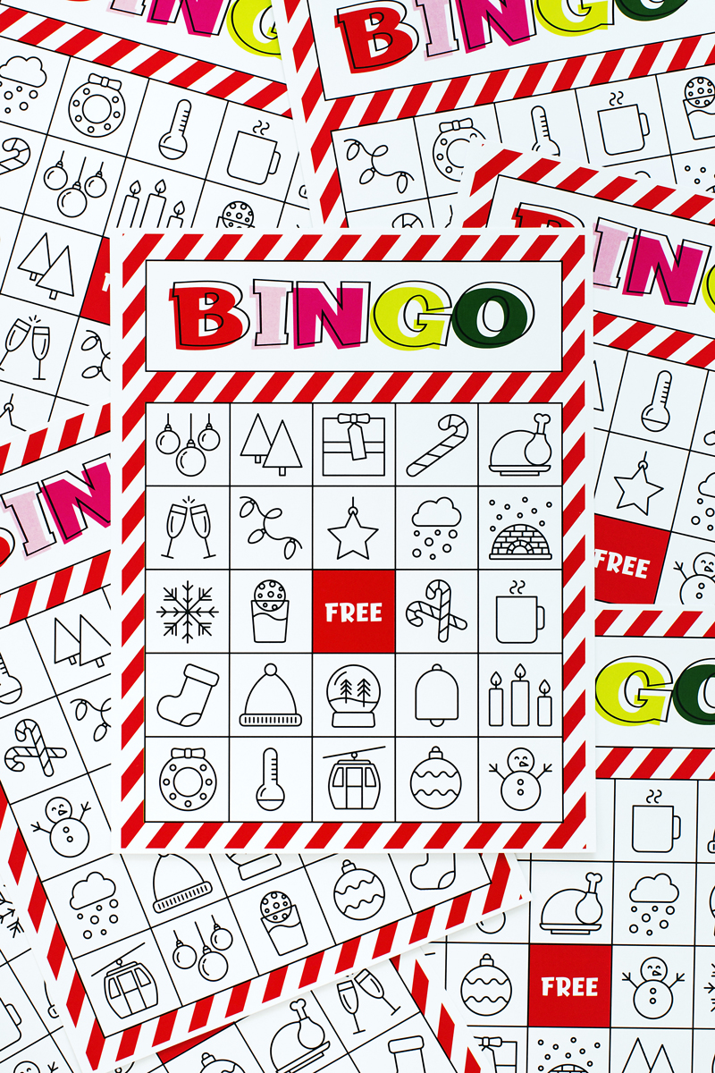 image regarding Christmas Bingo Card Printable identified as Xmas Bingo Printable For Enormous Categories Minimal A
