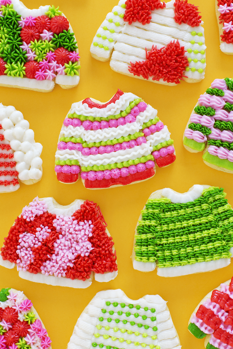 Ugly Christmas sweater cookies from a cake mix box kit