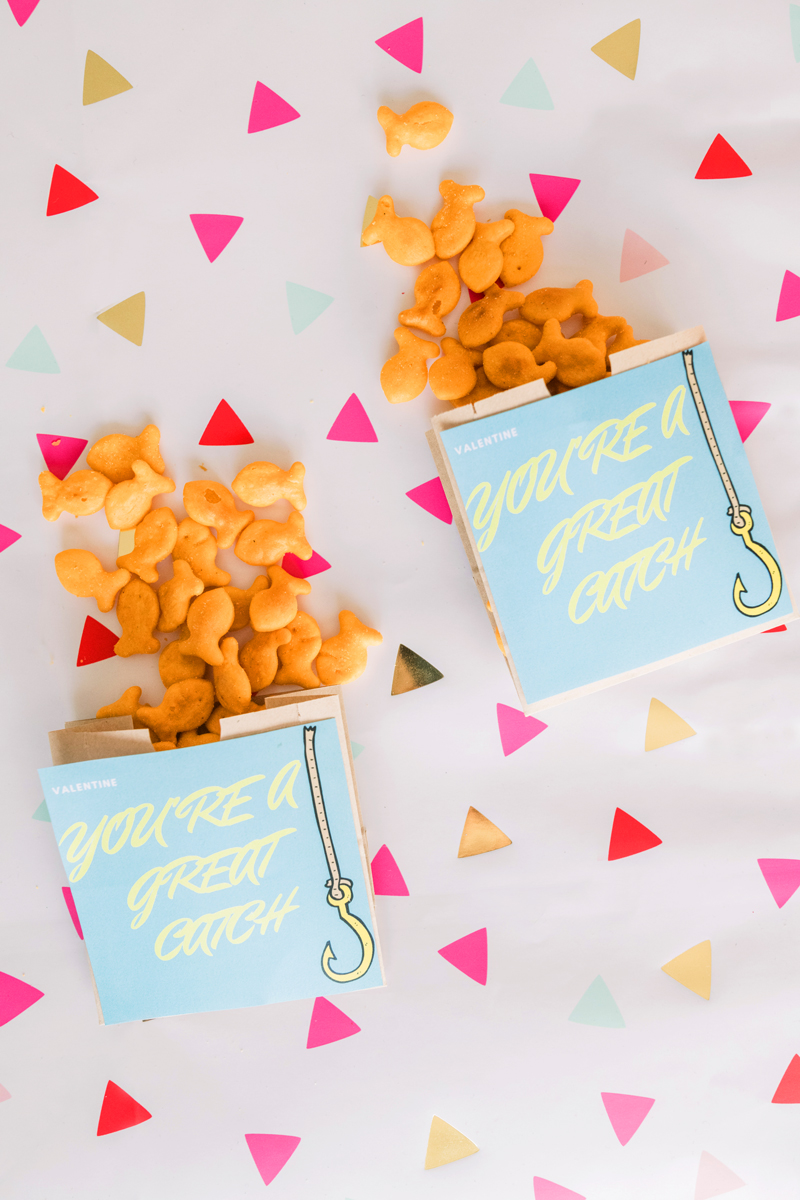You're a great catch goldfish Valentines