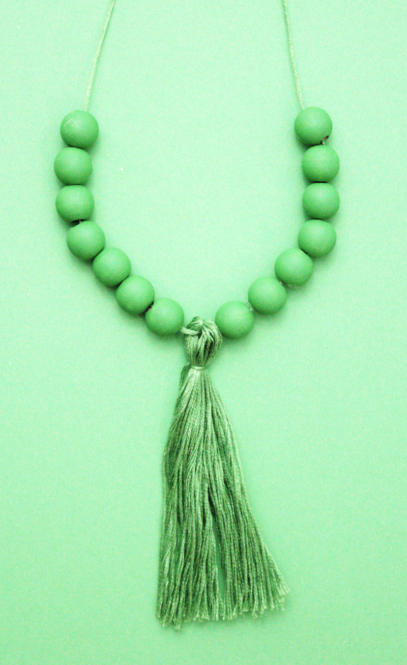 Wood Bead Tassel Necklace