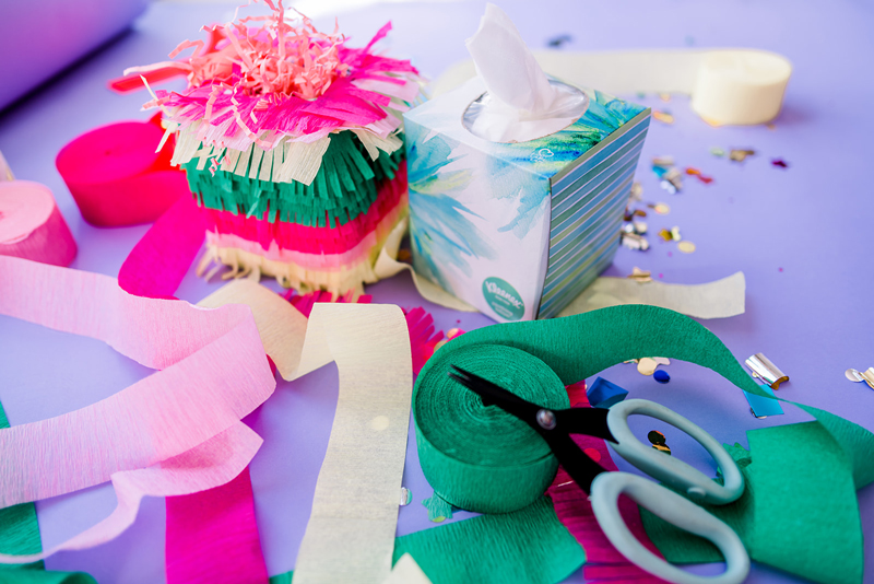 DIY pinata from a tissue box