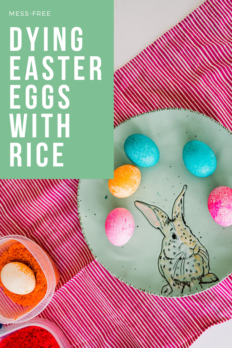 Dying easter eggs with rice for a mess free egg coloring experience