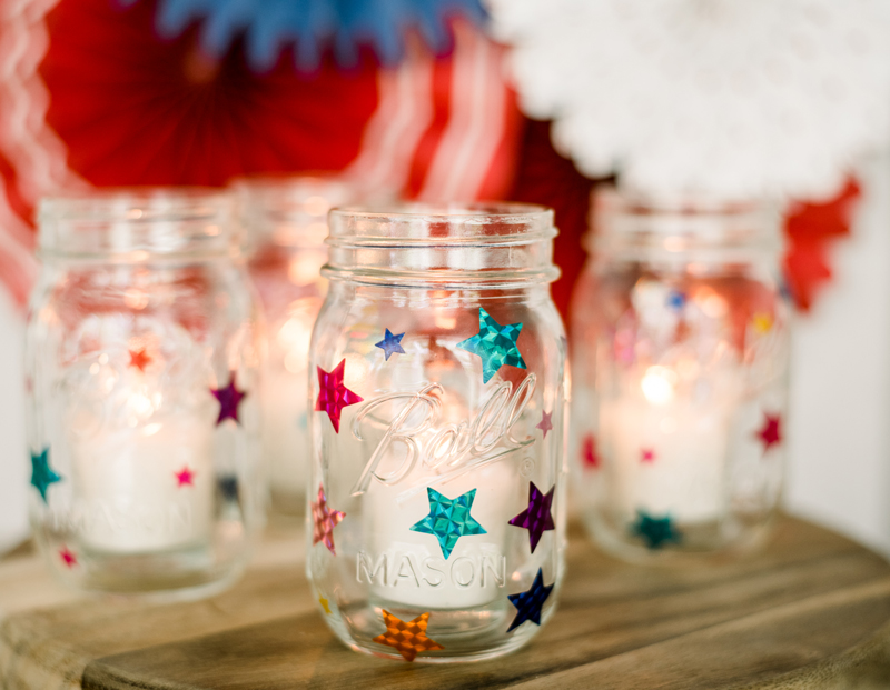 DIY candle lanterns with mason jars